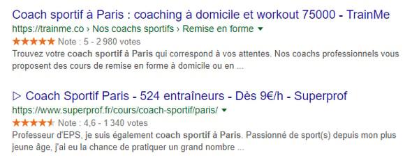 Recherche Google coach sportif à paris