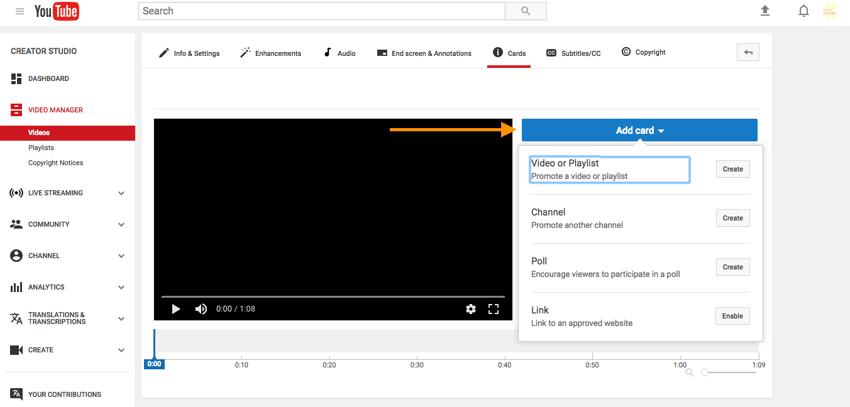 Types de fiches YouTube