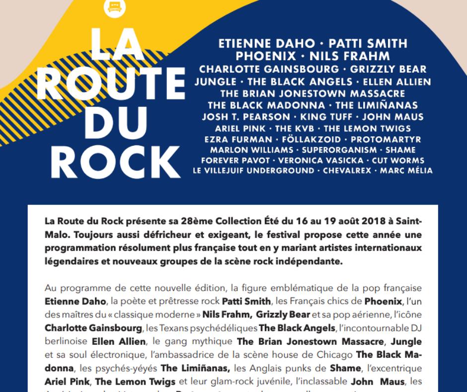 communiqué de presse La Route du Rock