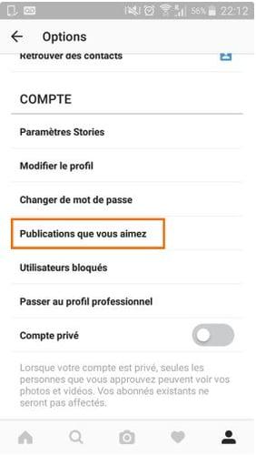 Accès aux publications que vous aimez dans l'application Instagram