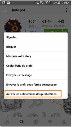 Activer les notifications des publications Instagram