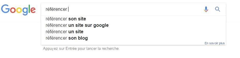 Suggestion mots-clés Google