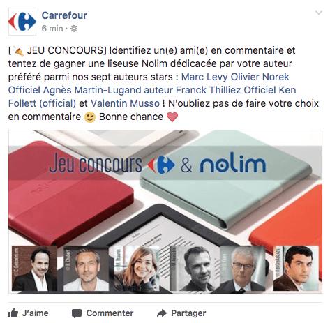 Image d'un concours Facebook de Carrefour