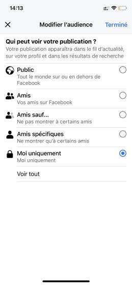 Modifier l'audience Facebook Live