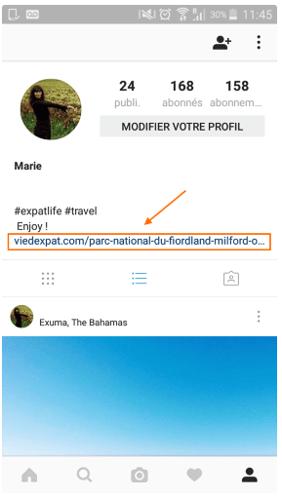 Lien hypertexte dans bio instagram