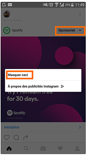 Masquer contenu sponsorisé
