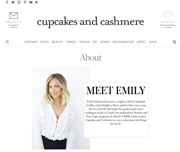 About us page Cupcakes and cashmere