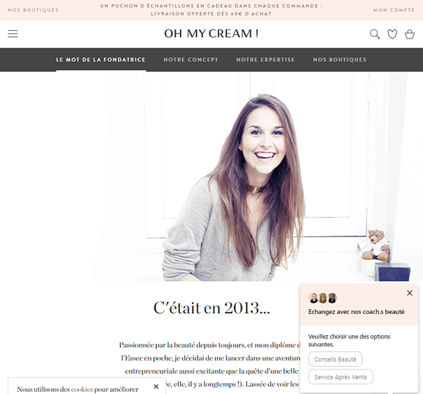 About us page Oh my cream