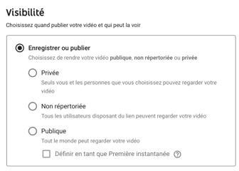 Paramètres visibilité vidéo