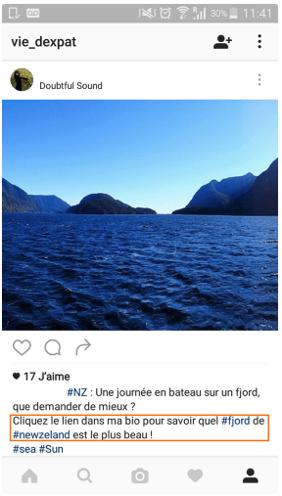 Photo instagram de mer avec description