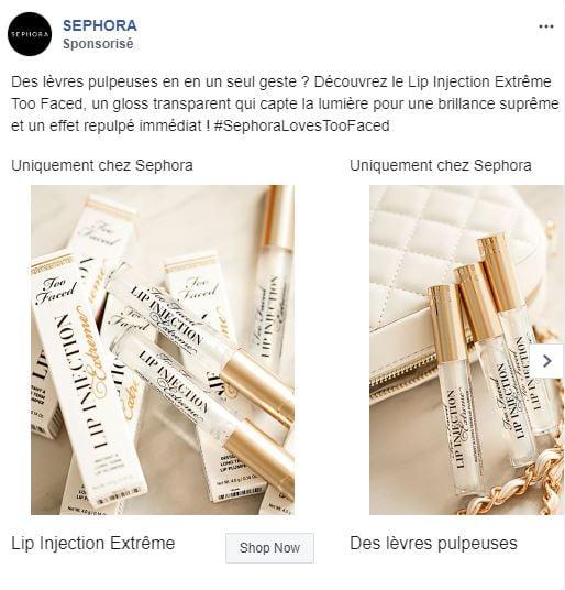 Publicité Facebook Exemple Multi-produit