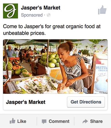 Publicité locale Facebook exemple