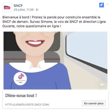 Image d'un post épinglé de la SNCF