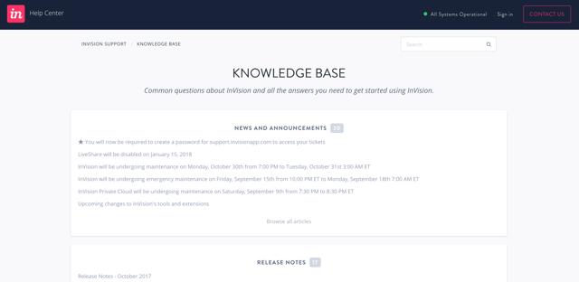 Base de connaissances d'InVision