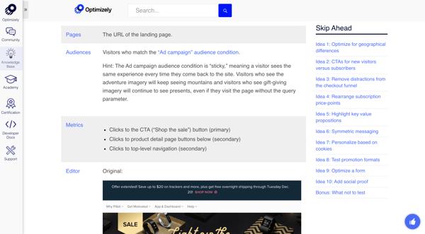 Exemple d'article de base de connaissances d'Optimizely