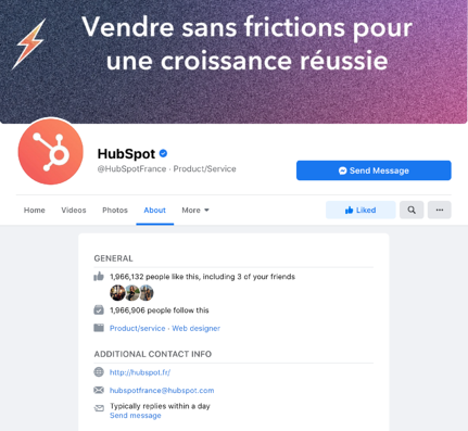 "Section ""à propose"" Facebook"