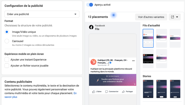 Option de formatage Facebook