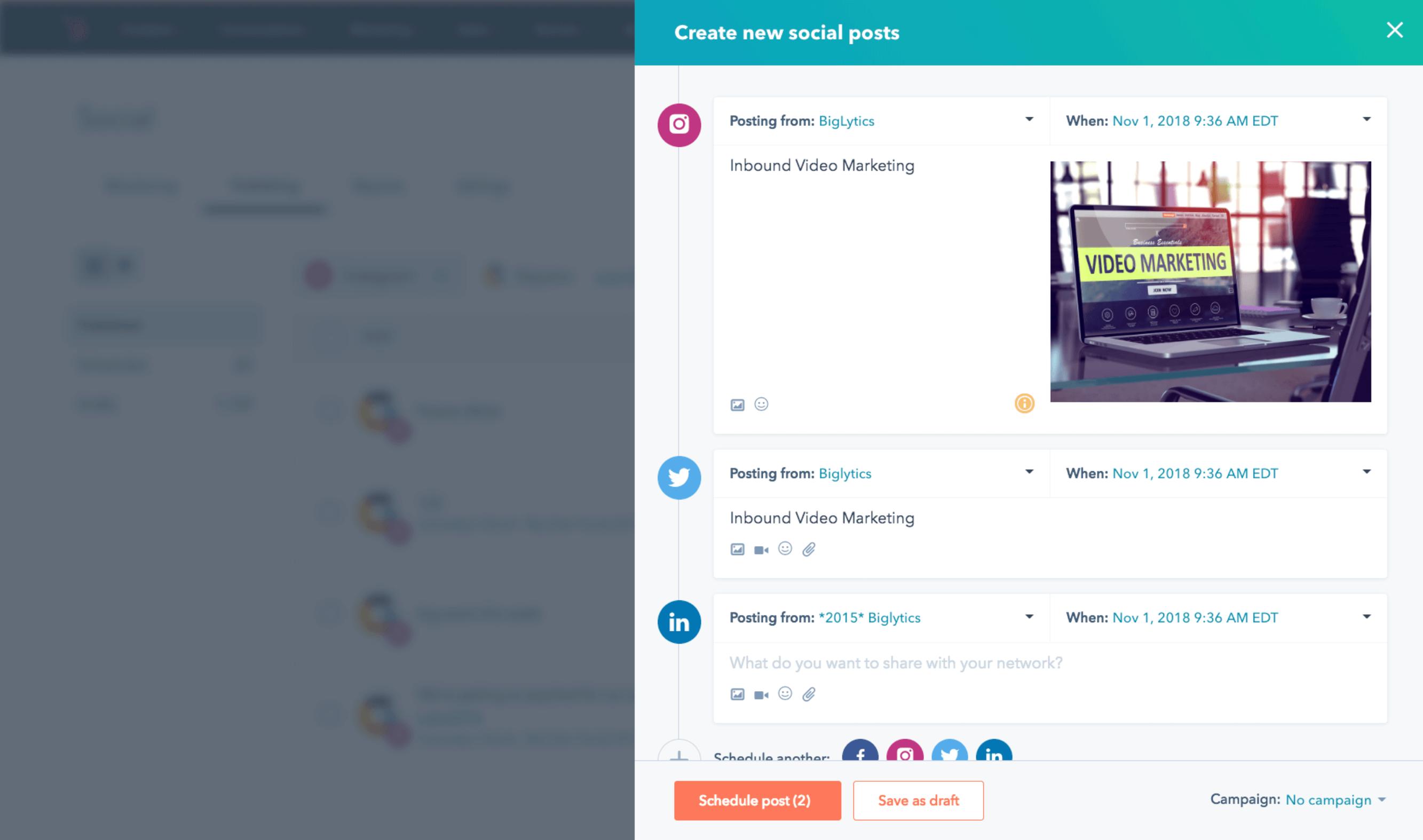 outil réseaux sociaux HubSpot