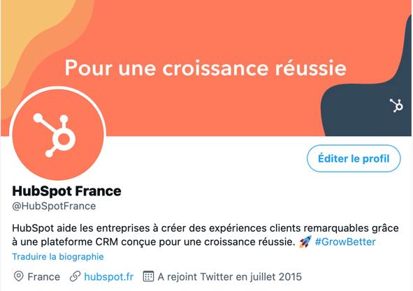 Profil HubSpot France sur Twitter