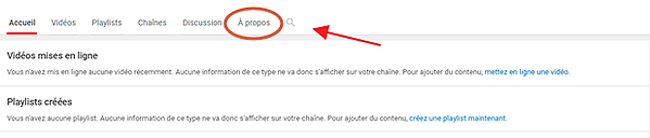Section À propos YouTube