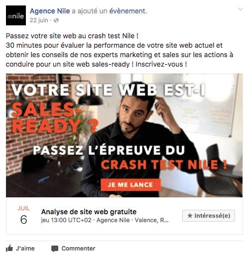 Image d'un événement de la Facebook de Nile Agence