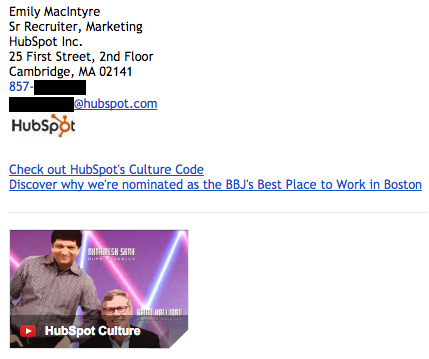 Exemple de signature d'e-mail professionnelle par Emily MacIntyre