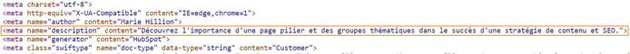 emplacement meta description dans le code source page web