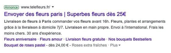 exemple d'nnonce sur google pour fleuriste