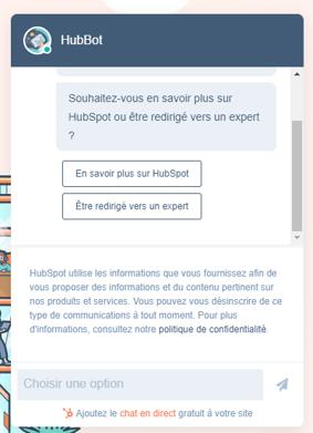 exemple du chatbot sur HubSpot