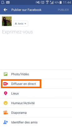 Diffuser en direct sur Facebook Live
