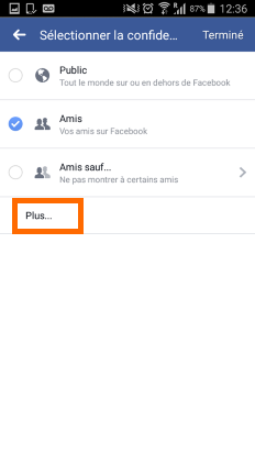 options de confidentialité facebook live