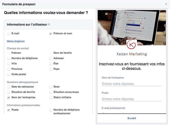 formulaire prospect facebook
