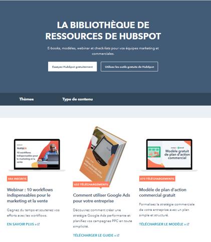 Bibliothèque de contenus HubSpot