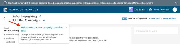 Configuration d'une campagne sur LinkedIn