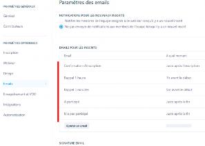 paramètre des emails zoom