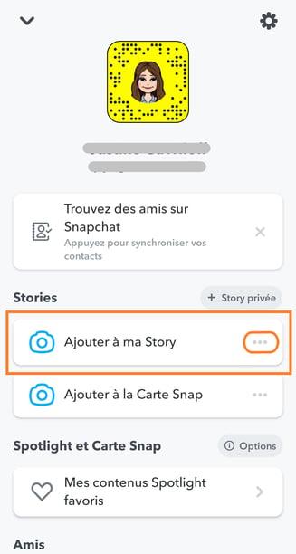 paramètres story snapchat