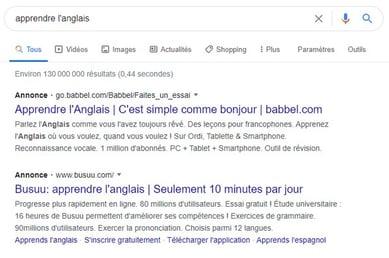 recherche google apprendre langlais