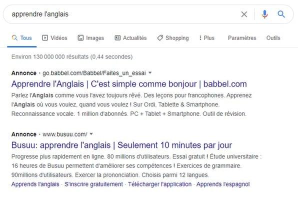 exemple annonce google ads sur la recherche apprendre l'anglais