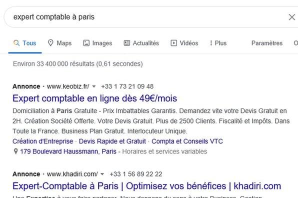 annonce google ads sur la recherche expert comptable à paris