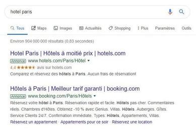 recherche google hotel paris