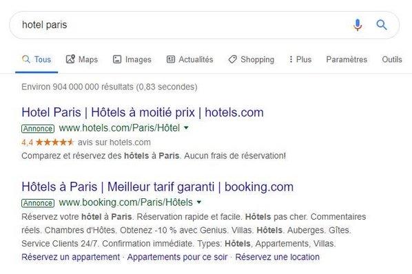 exemple annonce google ads sur la recherche google hotel paris