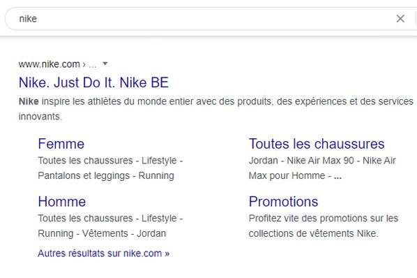 exemple annonce liens annexe pour Nike