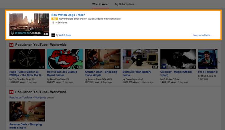 Annonces Video Discovery sur la page d'accueil de YouTube.png