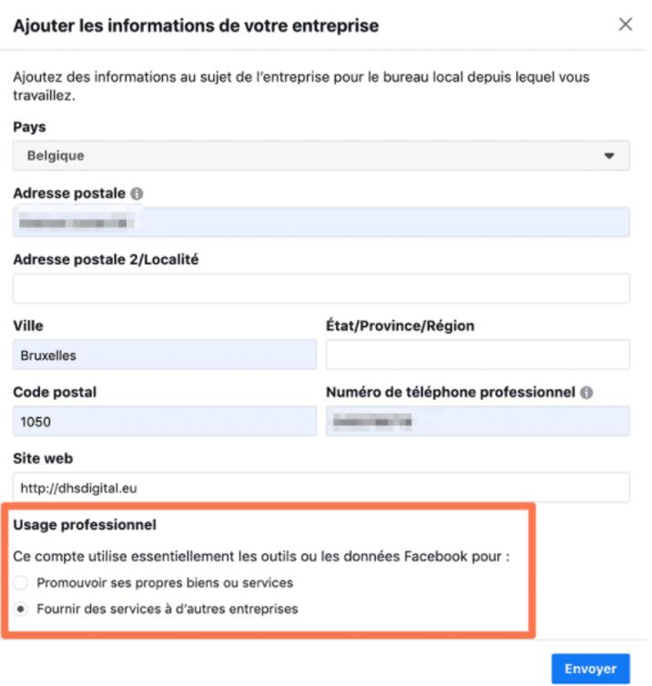 Informations entreprise Facebook Business Manager