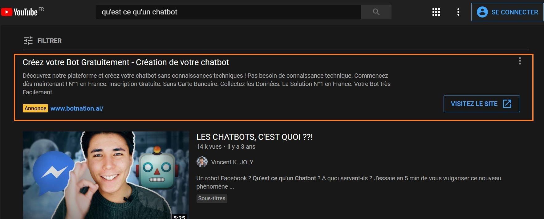 exemple de publicité YouTube insearch