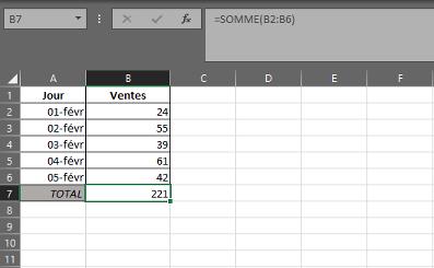 Fonction SOMME dans Excel