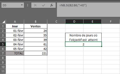 Fonction NB.SI dans Excel