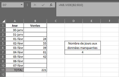 Fonction NB.VIDE dans Excel