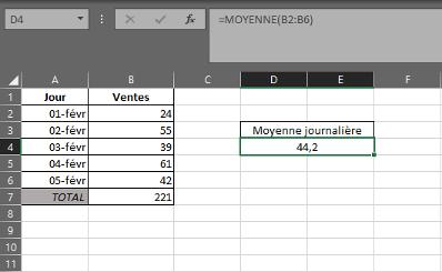 Fonction MOYENNE dans Excel