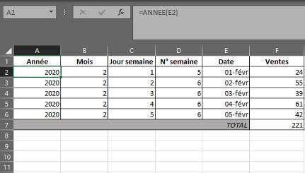 Fonction ANNEE dans Excel